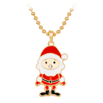 Rhinestone Christmas Santa Beaded Chain Necklace - RED