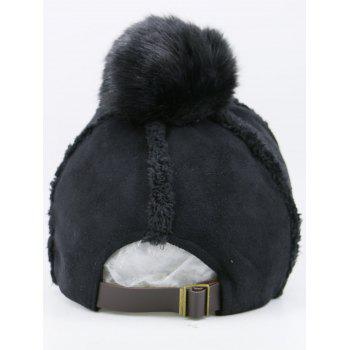 Faux Lambswool Insert Pom Baseball Hat -  BLACK