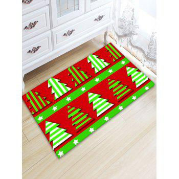 Flannel Thickening Christmas Tree Bath Mat - RED AND GREEN RED/GREEN