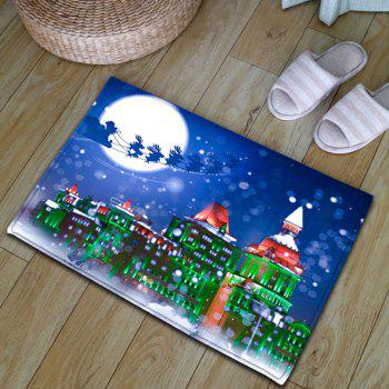 Christmas Sled Building Thickening Bath Mat - BLUE BLUE