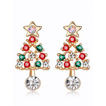 Acrylic Rhinestones Hollow Out Christmas Tree Earrings