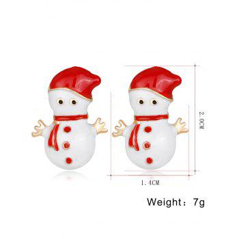 Pair of Snowmen Shape Earrings - RED