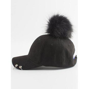 Hoop Ring Insert Pom Baseball Hat - BLACK