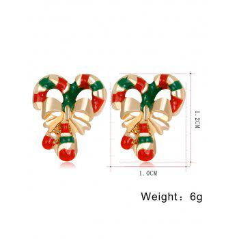 Christmas Bowknot Stripe Candy Cane Shape Earrings -  COLORMIX
