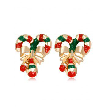 Christmas Bowknot Stripe Candy Cane Shape Earrings - COLORMIX COLORMIX