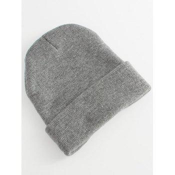 Nice To Meet Chuu Pattern Knited Beanie Hat -  GRAY