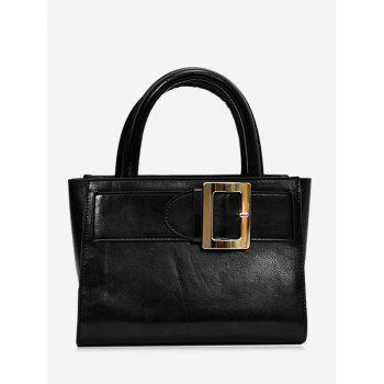 Faux Leather Buckle Strap Handbag - BLACK BLACK