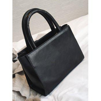 Faux Leather Buckle Strap Handbag -  BLACK