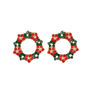 Rhinestone Faux Pearl Christmas Wreath Earrings - COLORMIX