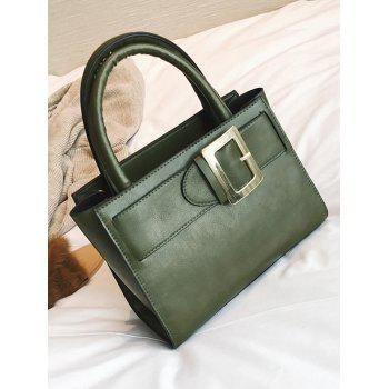 Faux Leather Buckle Strap Handbag -  GREEN