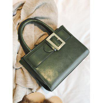 Faux Leather Buckle Strap Handbag - Vert
