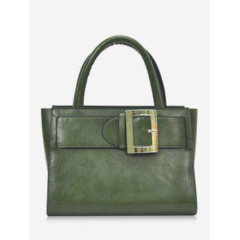 Faux Leather Buckle Strap Handbag - GREEN GREEN