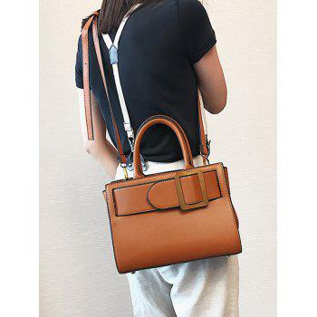 Faux Leather Buckle Strap Handbag -  BROWN