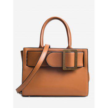 Faux Leather Buckle Strap Handbag - BROWN BROWN
