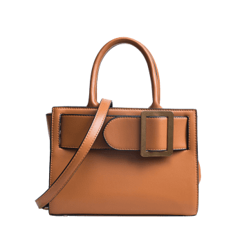 Faux Leather Buckle Strap Handbag - Brun