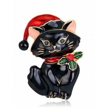 Rhinestone Christmas Hat Kitten Brooch