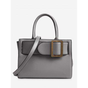 Faux Leather Buckle Strap Handbag - GRAY GRAY