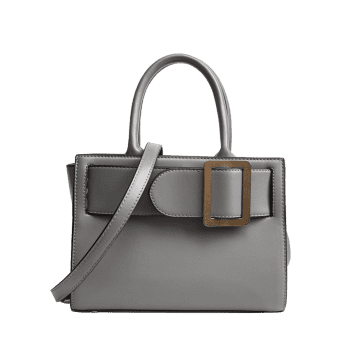 Faux Leather Buckle Strap Handbag -  GRAY