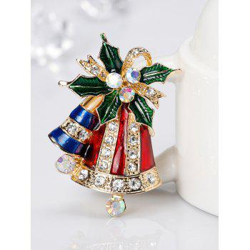 Rhinestone Christmas Bell Tiny Brooch - RED