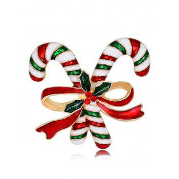 Rhinestone Christmas Candy Cane Tiny Brooch - RED RED