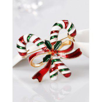 Rhinestone Christmas Candy Cane Tiny Brooch -  RED