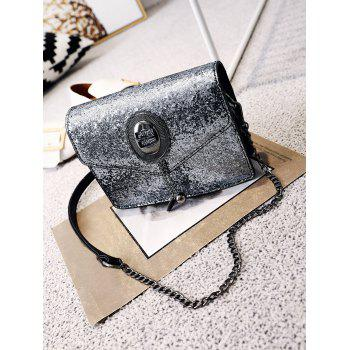 Sequin Chain Crossbody Bag -  SILVER GRAY