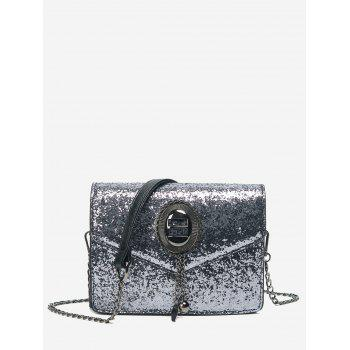 Sequin Chain Crossbody Bag - SILVER GRAY SILVER GRAY