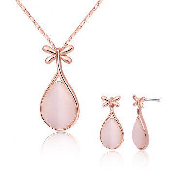 Faux Crystal Butterfly Teardrop Jewelry Set - ROSE GOLD ROSE GOLD