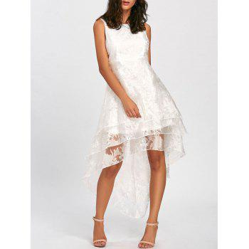 High Low Party Prom Tiered Tulle Dress - WHITE L
