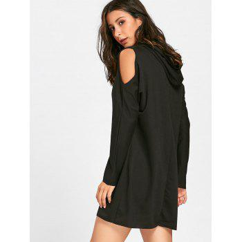 Cold Shoulder Mini Hoodie Dress - BLACK S