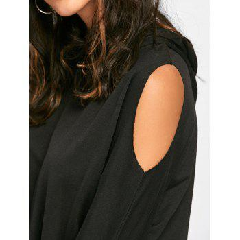 Cold Shoulder Mini Hoodie Dress - BLACK BLACK