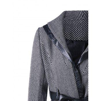Tie Belt Shawl Collar Coat - M M