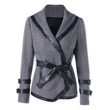 Tie Belt Shawl Collar Coat - BLACK STRIPE M