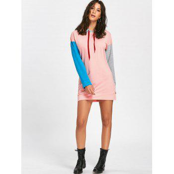 Drawstring Color Block Mini Hoodie Dress - ROSE PÂLE XL
