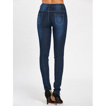 Skinny High Waisted Floral Embroidered Jeans - DEEP BLUE M