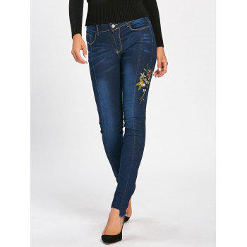 Skinny High Waisted Floral Embroidered Jeans - DEEP BLUE XL