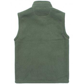 Flag Embroidered Zip Up Fleece Waistcoat - ARMY GREEN L
