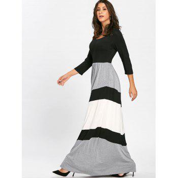 Scoop Neck Chevron Stripe Maxi Dress - BLACK L