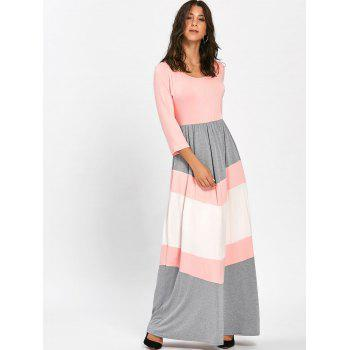 Scoop Neck Chevron Stripe Maxi Dress - PINK XL