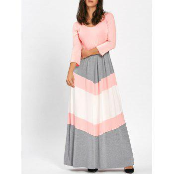 Scoop Neck Chevron Stripe Maxi Dress - PINK M
