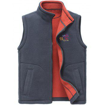 Flag Embroidered Zip Up Fleece Waistcoat - GRAY GRAY