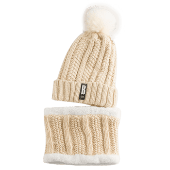 Letter B Label Knitted Pom Hat and Scarf - PALOMINO
