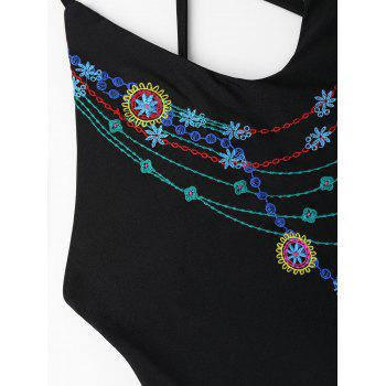 Embroidered Criss Cross Plus Size Swimsuit - 2XL 2XL