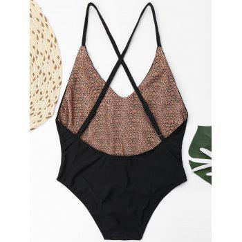 Embroidered Criss Cross Plus Size Swimsuit - BLACK BLACK
