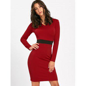 V Neck Two Tone Bodycon Dress - RED XL