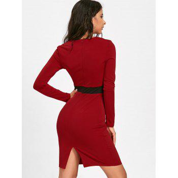 V Neck Two Tone Bodycon Dress - RED M