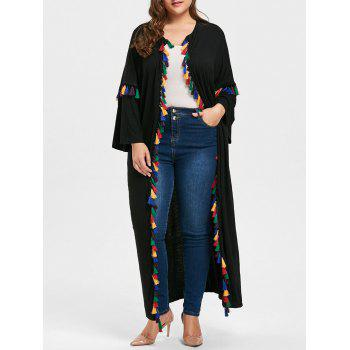 Tassel Drop Shoulder Plus Size Cardigan - BLACK 2XL