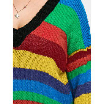 Plus Size Drop Shoulder Rainbow Striped Chunky Sweater - COLORMIX ONE SIZE