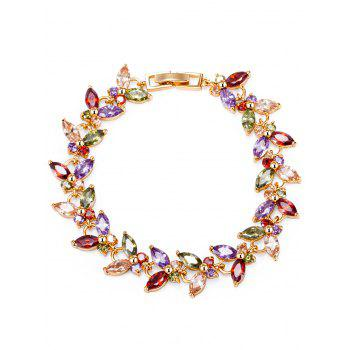Golden Butterfly Colorful Faux Gemstone Decorated Bracelet - COLORFUL COLORFUL
