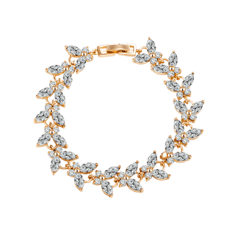 Golden Butterfly Colorful Faux Gemstone Decorated Bracelet - WHITE